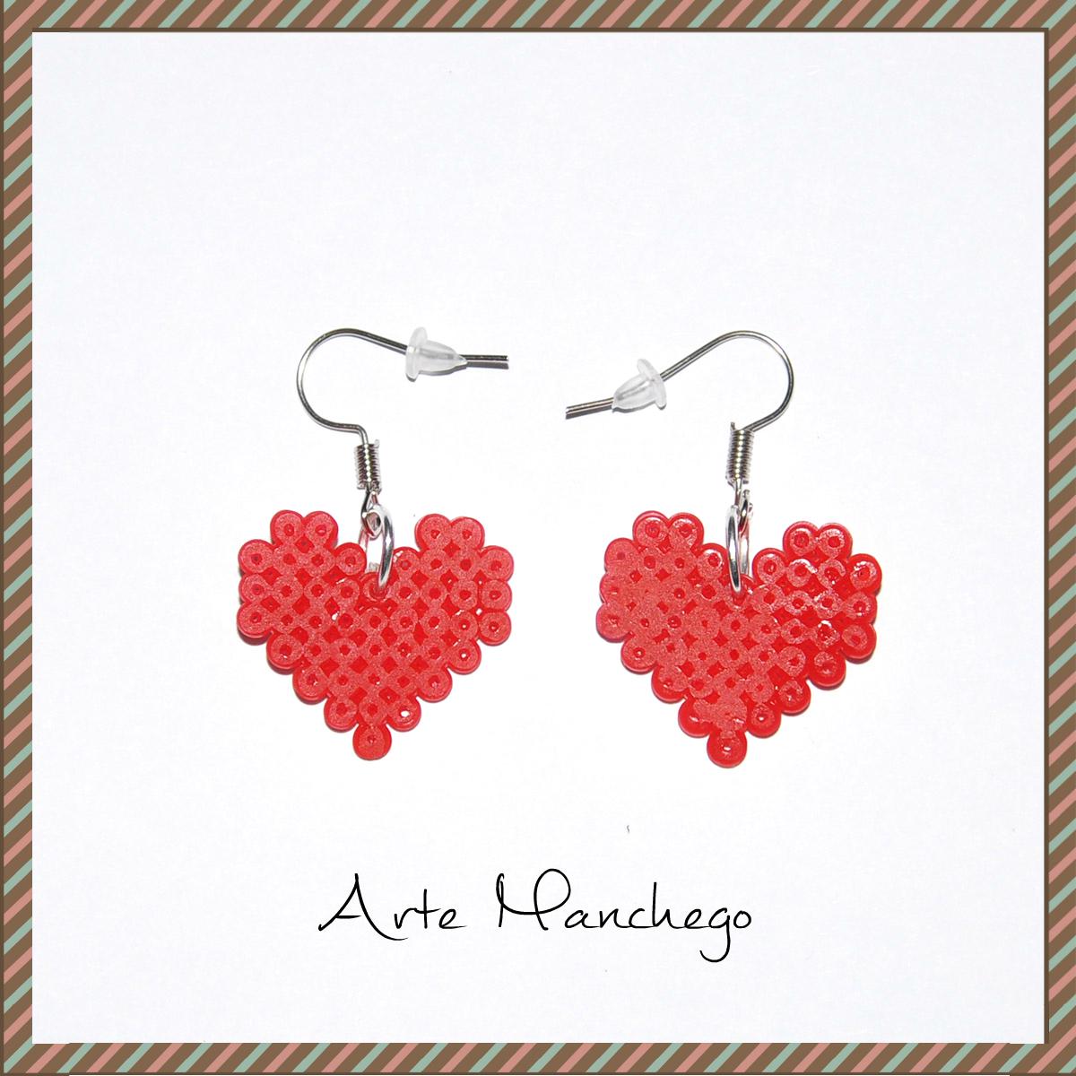Pendientes de corazón San Valentín color rojo