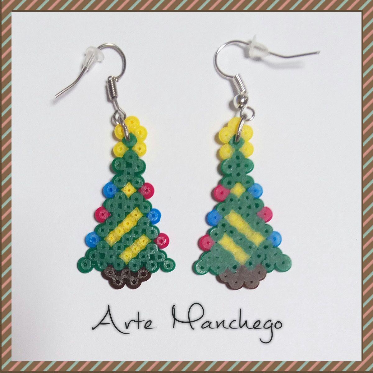 Pendientes Árbol de Navidad de Hama Beads