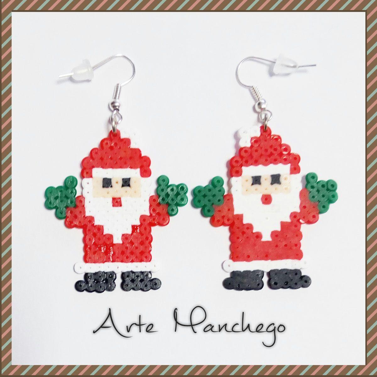 Pendientes Papá Noel de Hama Beads